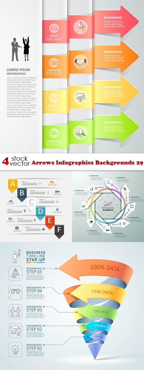 Vectors - Arrows Infographics Backgrounds 29