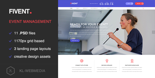 Fivent - Conference & Event PSD Template 15233121