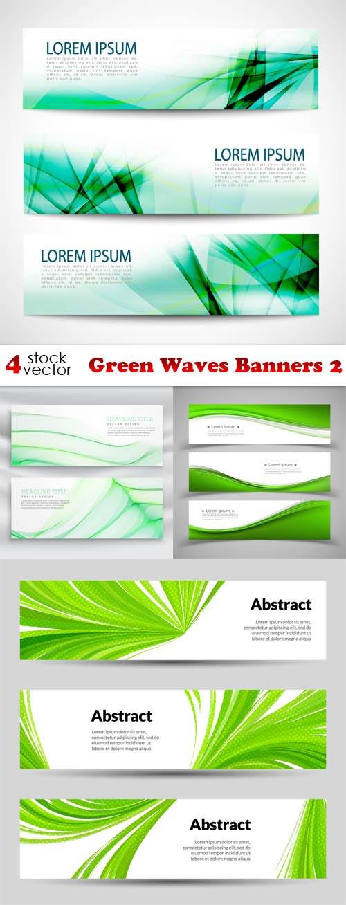 Vectors - Green Waves Banners 2