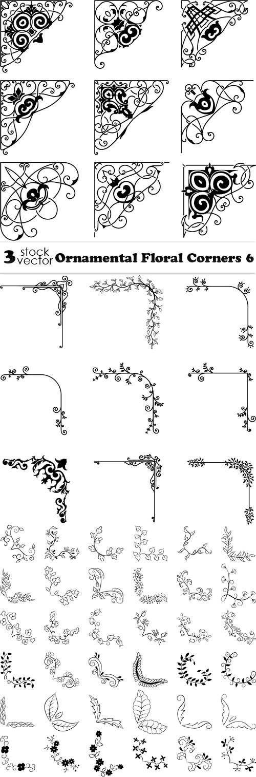 Vectors - Ornamental Floral Corners 6