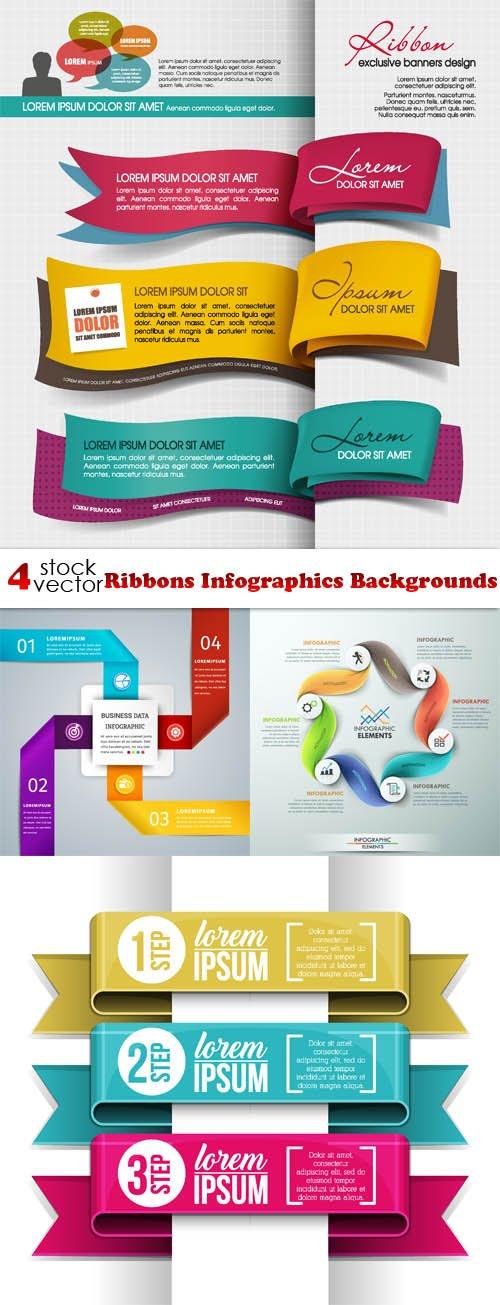 Vectors - Ribbons Infographics Backgrounds