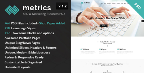 Metrics - SEO & Marketing Business PSD Template 13344520