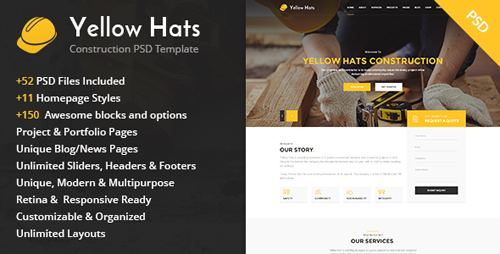 Yellow Hats - Construction Business PSD Template 14367828