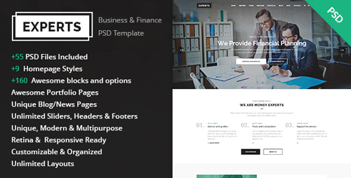 Experts - Business and Finance PSD Template 14671500