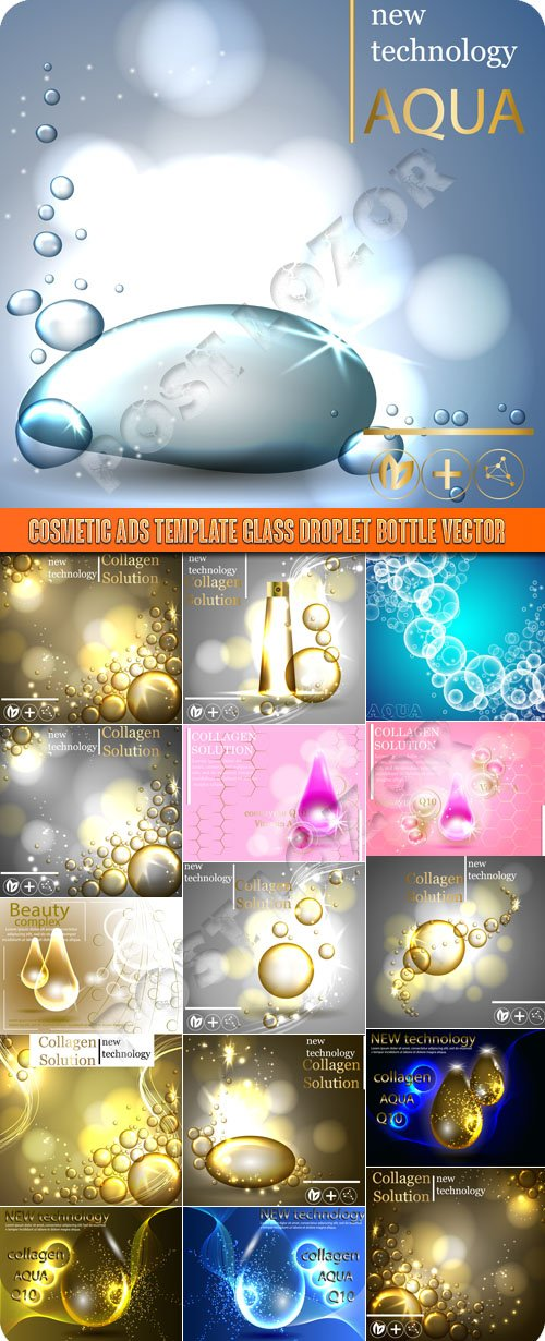 Cosmetic ads template glass droplet bottle vector