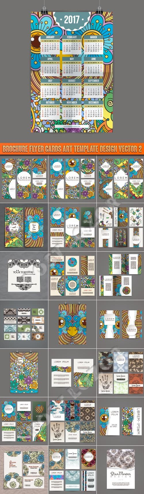 Brochure flyer cards art template design vector 2