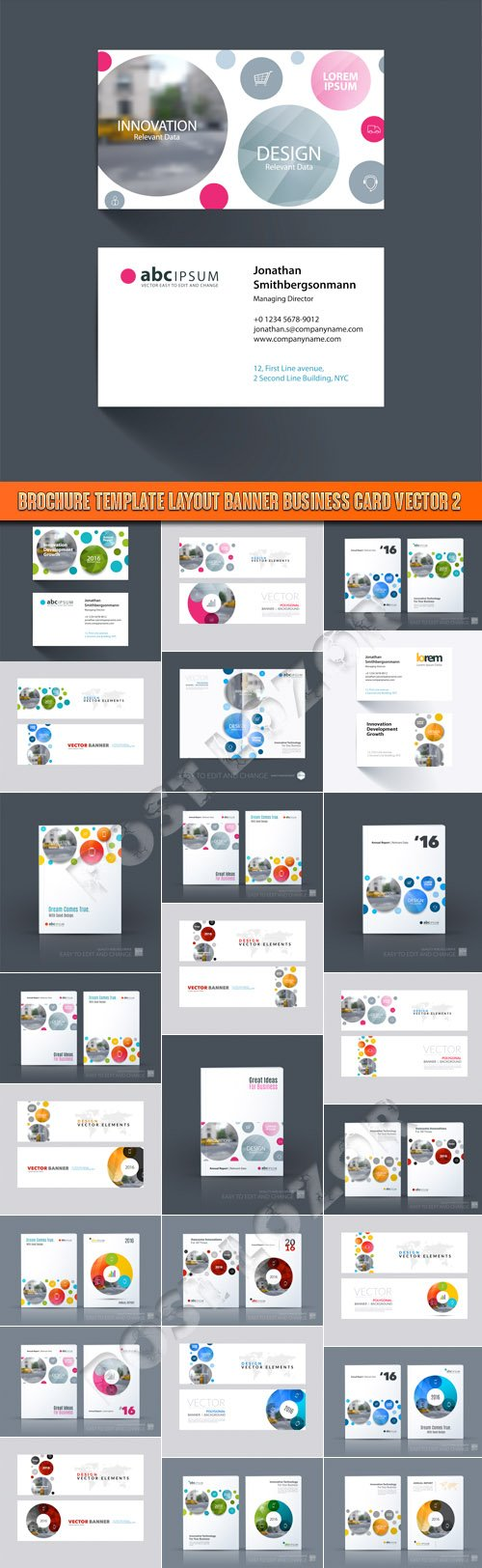 Brochure template layout banner business card vector 2