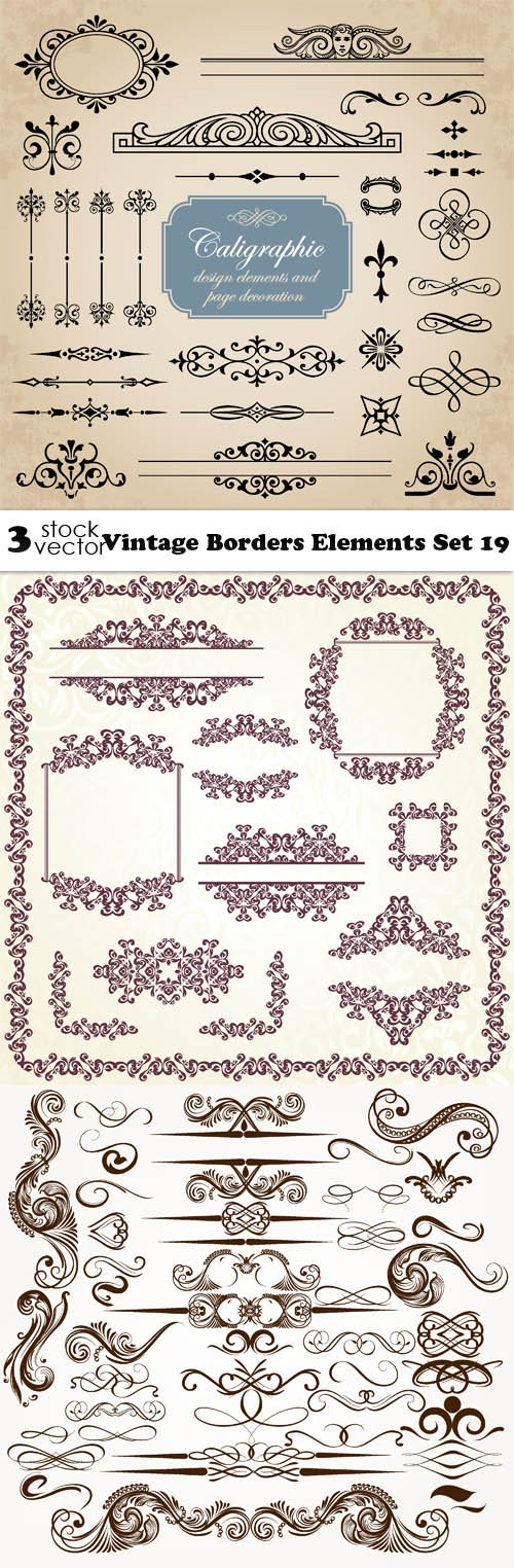 Vectors - Vintage Borders Elements Set 19