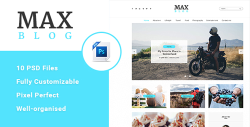 Max Blog - Personal Blog PSD Template 18438090
