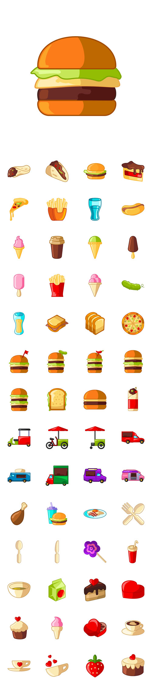 Vector Fastfood and Love Flat Icons