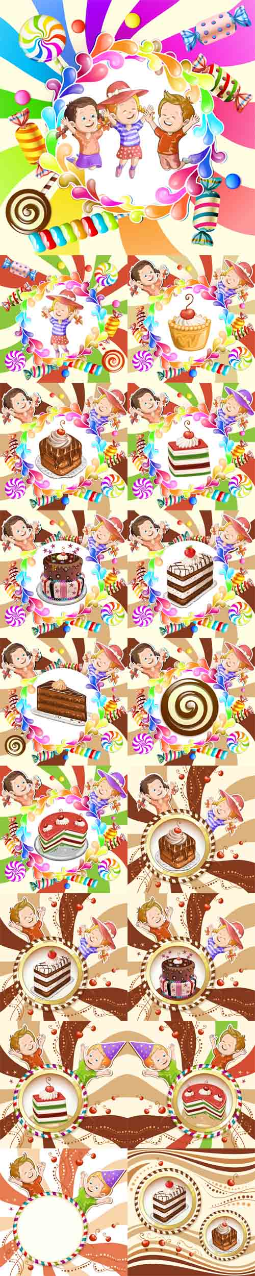 Vector Illustration of Kids with Cake and Candies