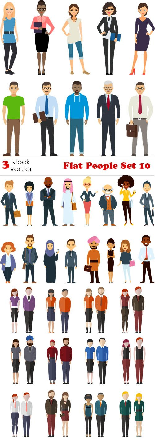 Vectors - Flat People Set 10