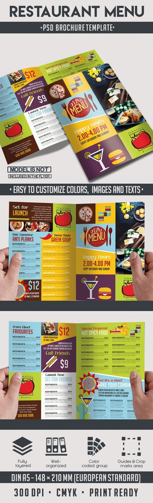 Restaurant Menu Bi-Fold PSD Brochure Template