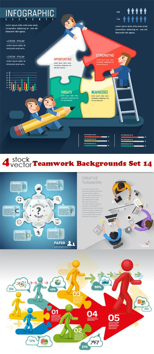 Vectors - Teamwork Backgrounds Set 14