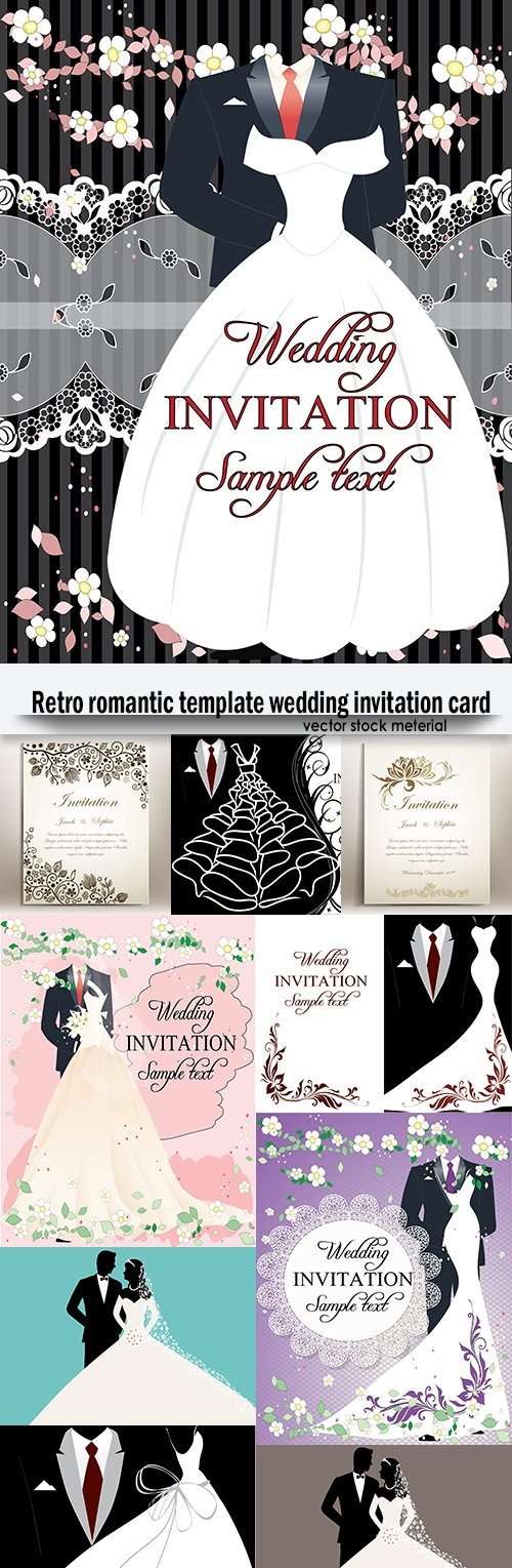 Retro romantic template wedding invitation card