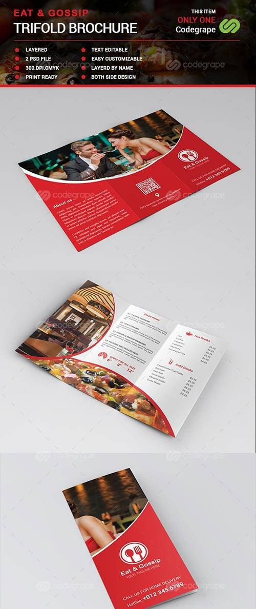 CodeGrape - Eat & Gossip Trifold Brochure - Menu 7729
