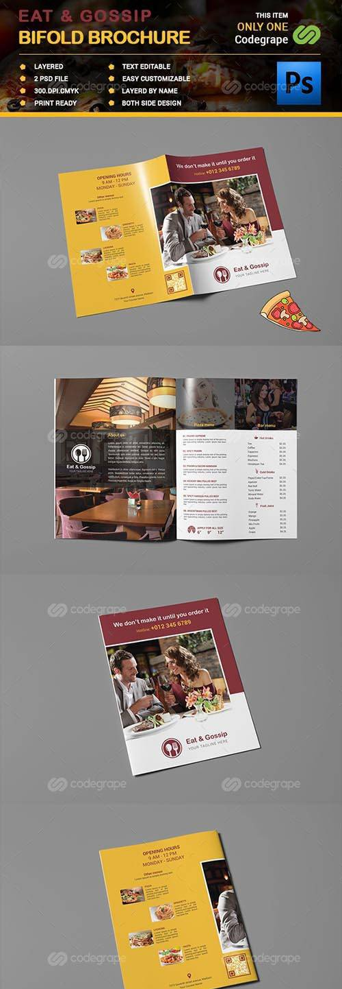 CodeGrape - Eat & Gossip Bifold Brochure 7897