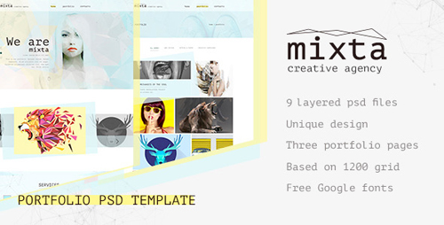 Mixta — Creative Agency, Portfolio PSD Template 12796794