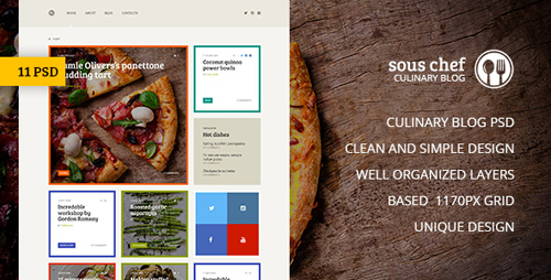 Sous Chef — Unique Clean PSD Template for Culinary Blog 15451051