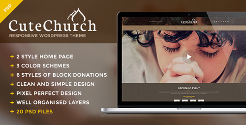 CuteChurch — Religion PSD Theme 11754032