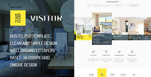 Visitor — Online Hostel/Hotel Booking PSD Template 15285217