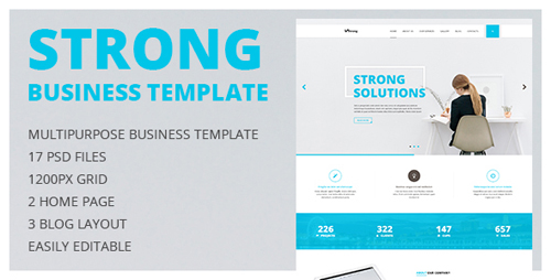 Strong — Multipurpose Business and Portfolio PSD Template with Clean Minimal Design 14931663
