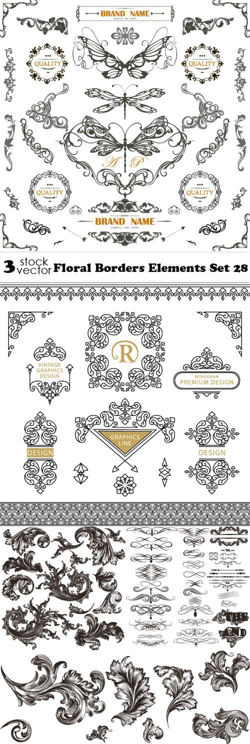 Vectors - Floral Borders Elements Set 28