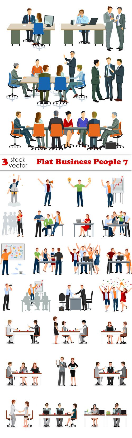 Vectors - Flat Business People 7