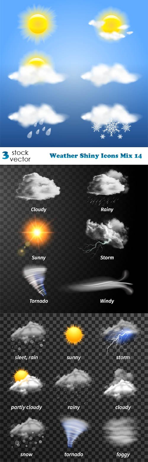 Vectors - Weather Shiny Icons Mix 14