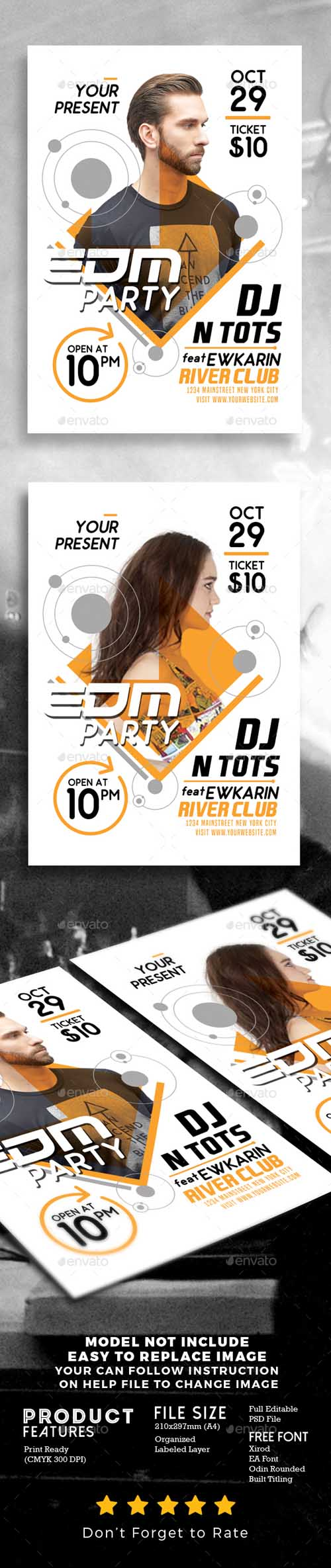 EDM Party Flyer Template 19223204