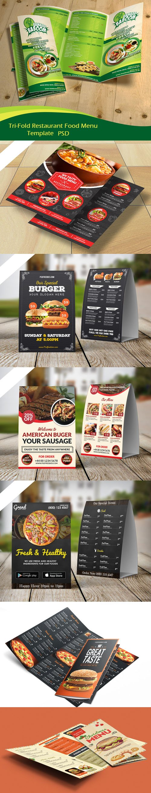 Restaurant Food Menu Flyer, Brochure & Tri-Fold PSD Templates