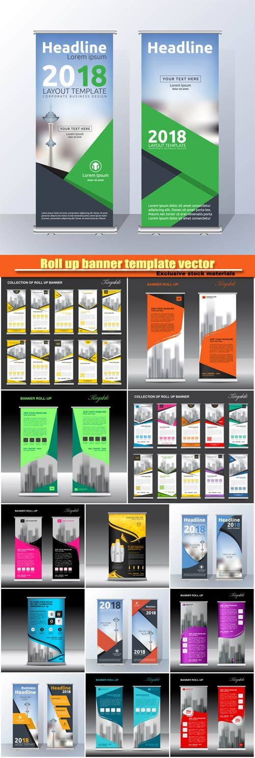Roll up banner template vector, flyer poster