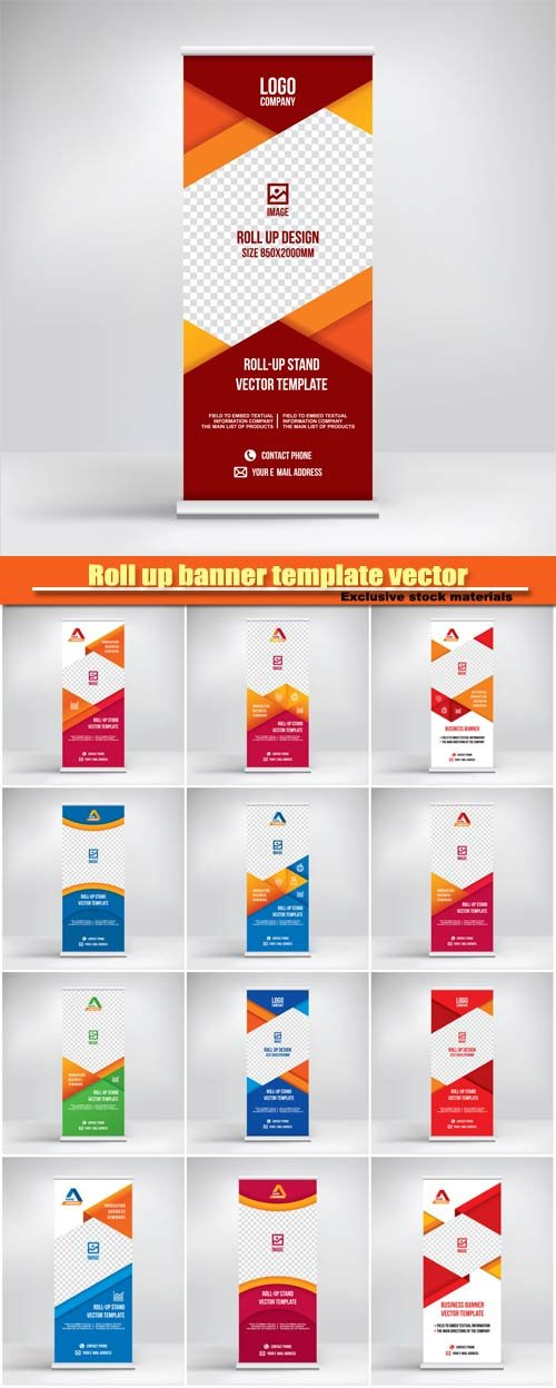Roll up banner vector template, flyer poster