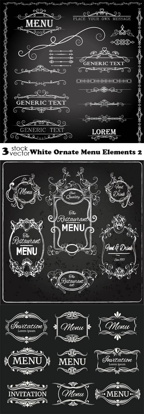 Vectors - White Ornate Menu Elements 2