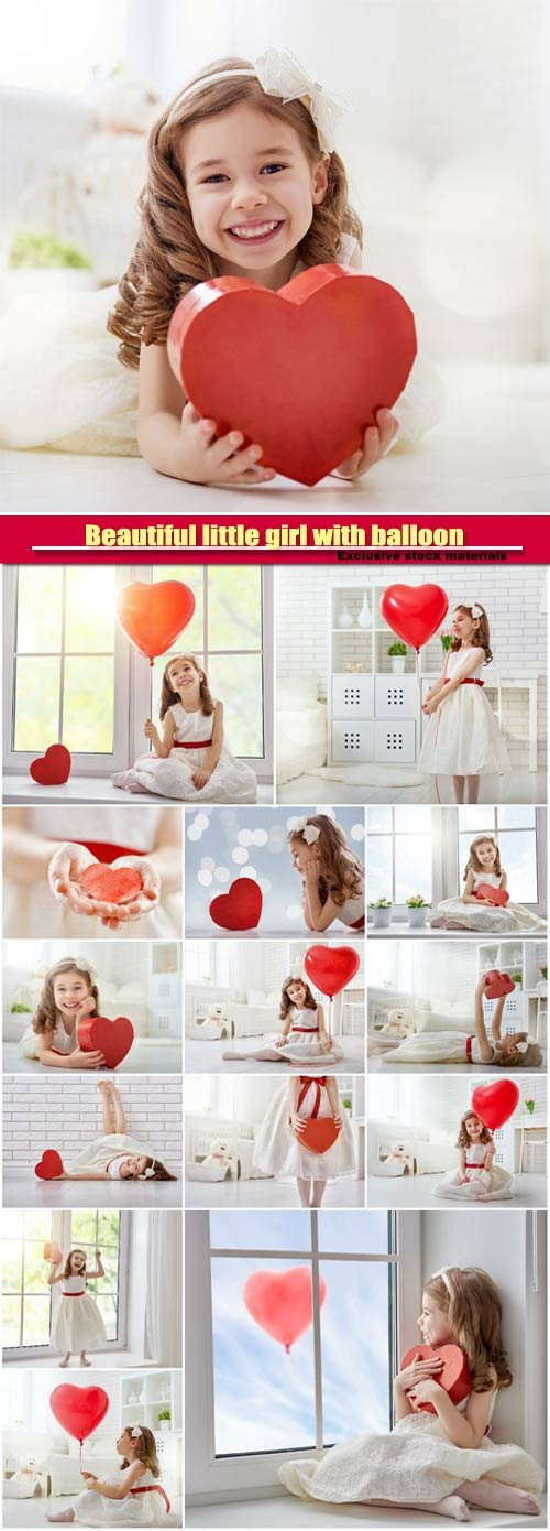 Beautiful little girl with balloon in the form of heart