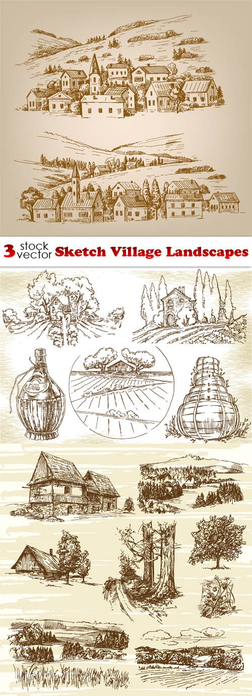 Vectors - Sketch Village Landscapes