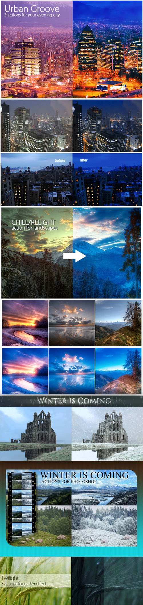 Photoshop Action - Urban Groove, Chill, Relight, Twilight & Winter is Coming