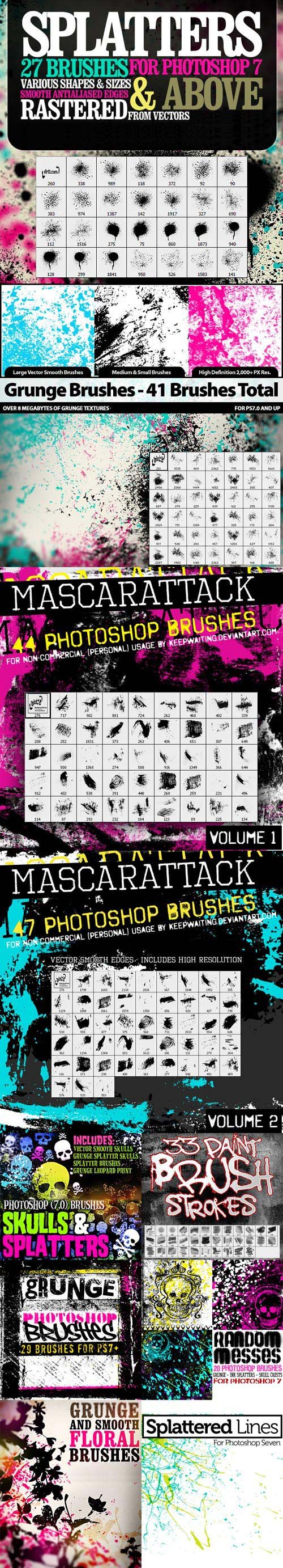 300+ Spraypaint, Splatter, Grunge, Floral & Skull Photoshop Brushes