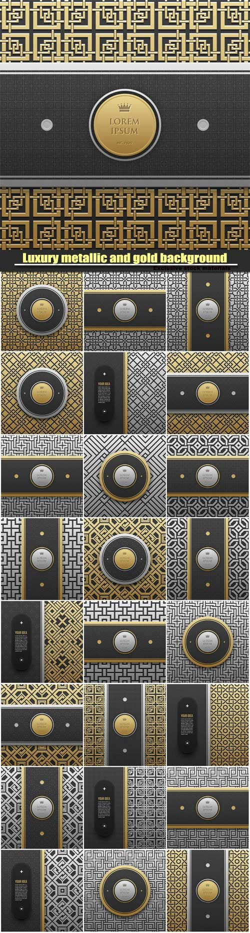 Luxury metallic and gold background with seamless geometric pattern