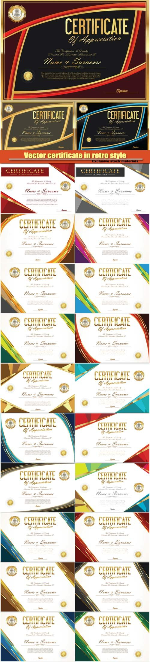 Vector certificate with a gold design in retro style