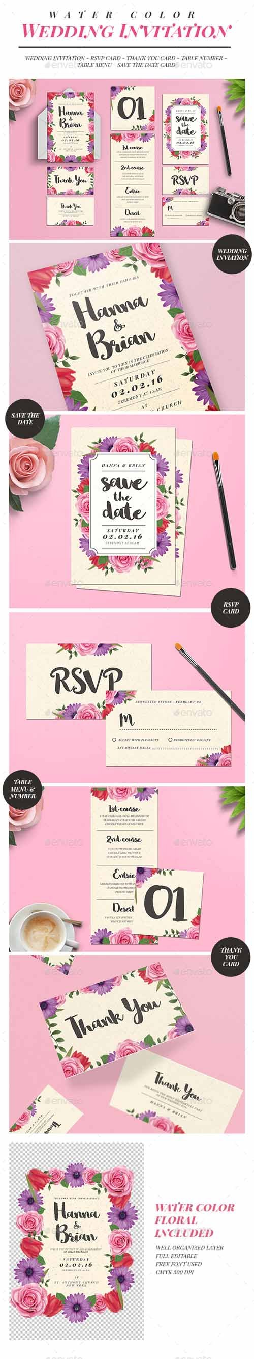 Watercolor Floral Wedding Invitation Suite 16212263