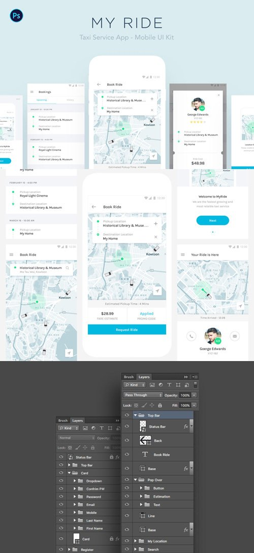 My Ride - Taxi App Mobile UI Kit