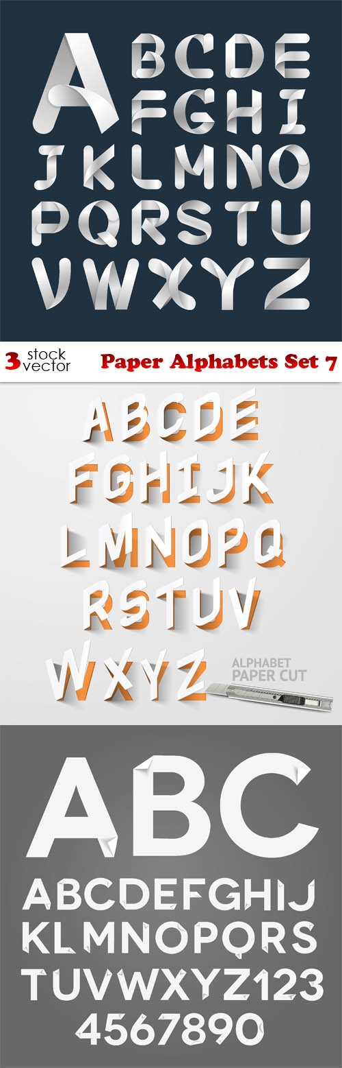 Vectors - Paper Alphabets Set 7