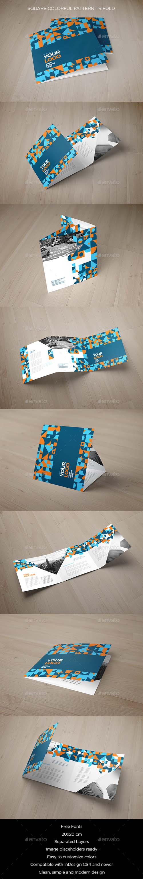 Square Colorful Pattern Trifold 19239485