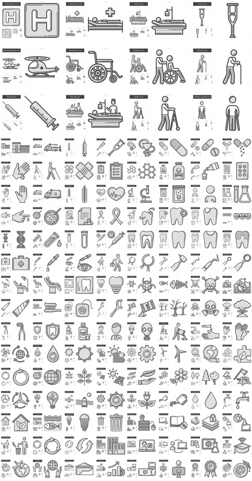 Vector Medicine, Ecology, Education Line Icons
