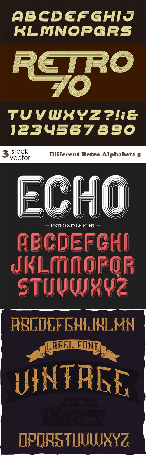 Vectors - Different Retro Alphabets 5