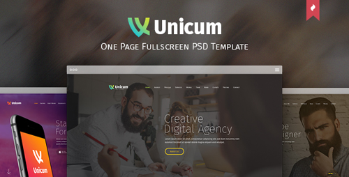 Unicum - One Page Fullscreen PSD Template 12275741