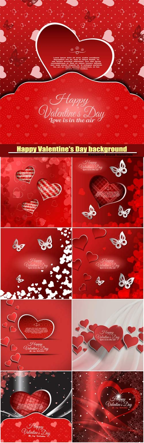 Vector Happy Valentine's Day background with red heart and white butterflies