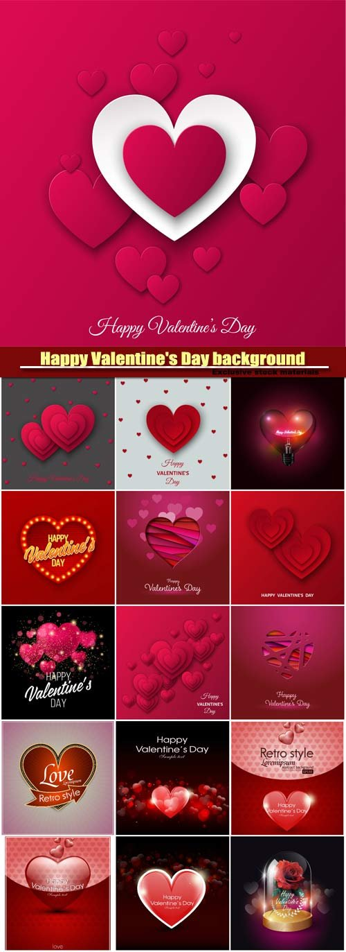 Vector Valentine's day background, red heart