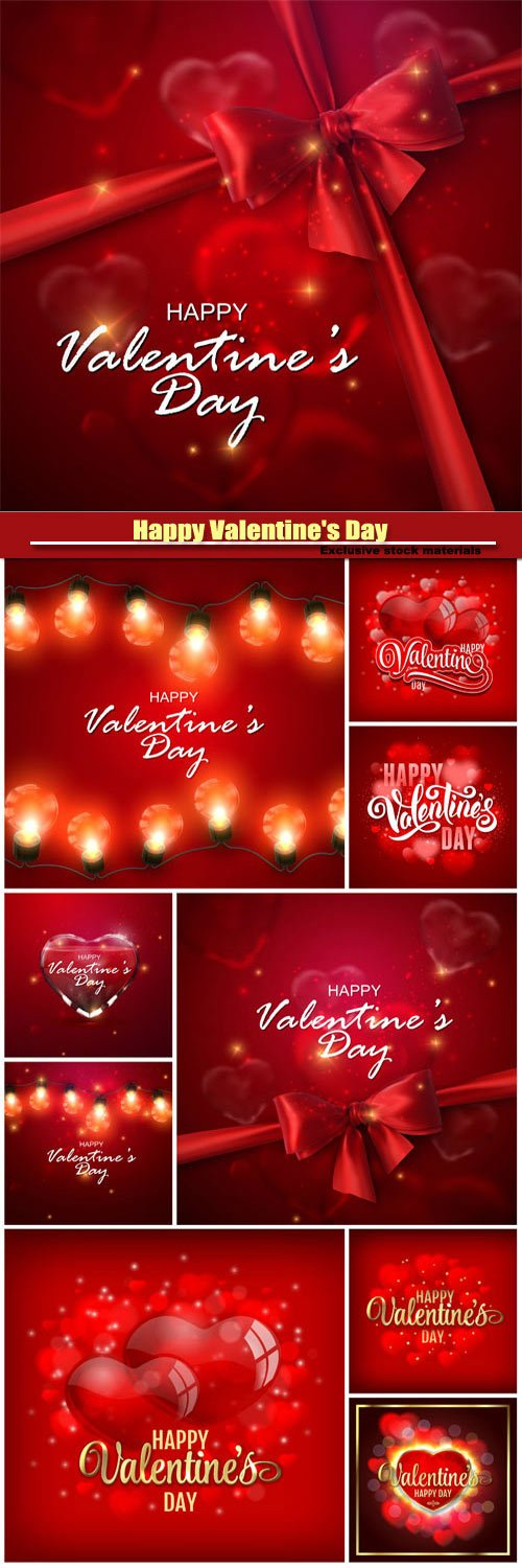 Happy Valentine's Day vector, red backgrounds with hearts and garlands